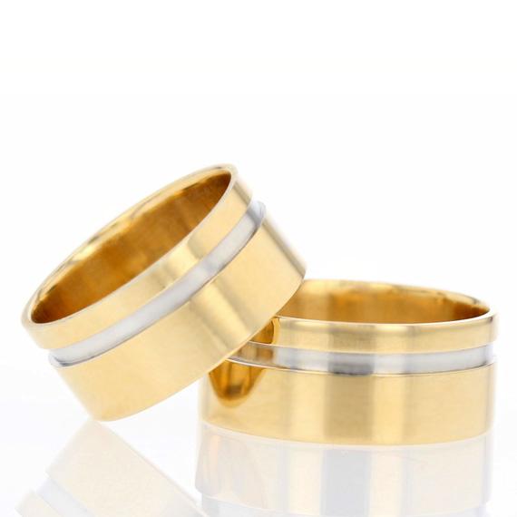 Alianças de casamento e noivado quadrada com um friso de ouro branco ... 4903e4f840